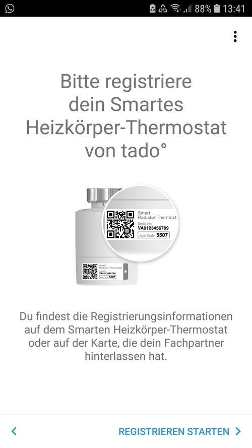 Registrierung des tado° Thermostates