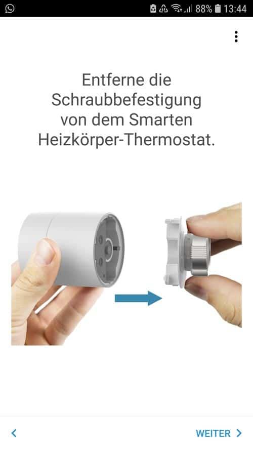 Entfernung der Schraubbefestigung vom tado° Thermostat
