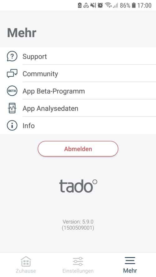 """tado° App - Übersicht """"Mehr"""""""