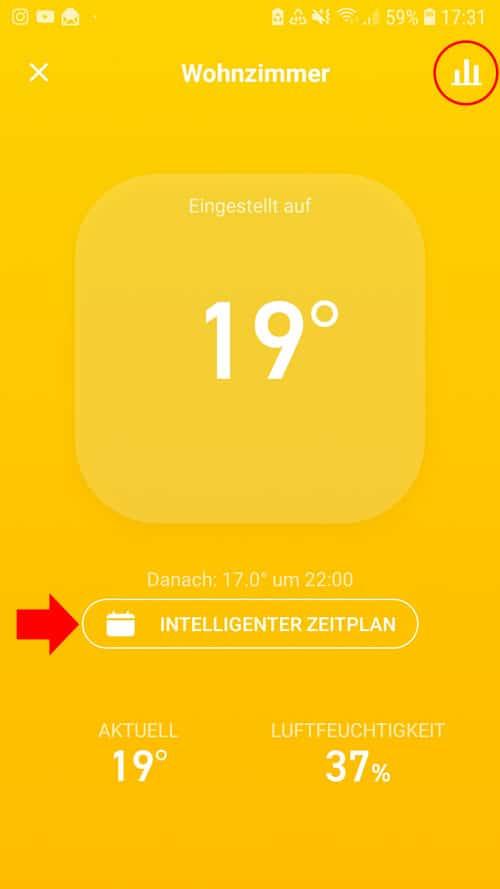 tado° App - Wohnzimmer Übersicht