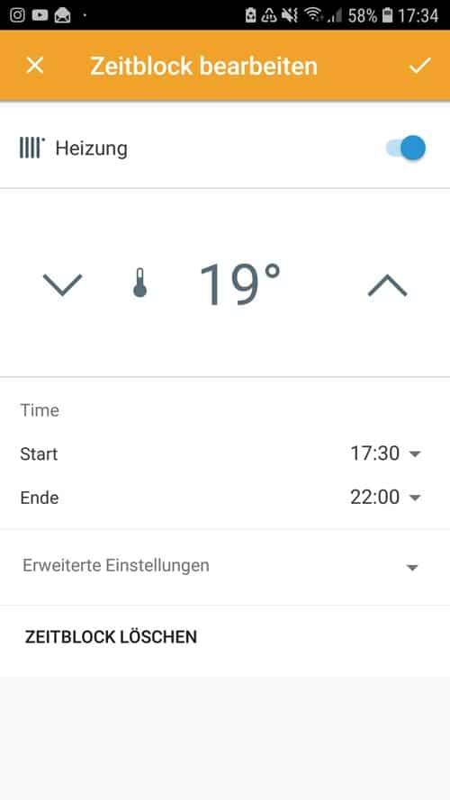 tado° App - Zeitblöcke einstellen