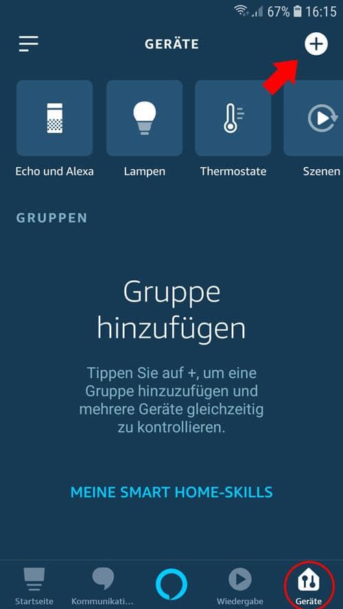 Alexa App - tado° Übersicht Geräte