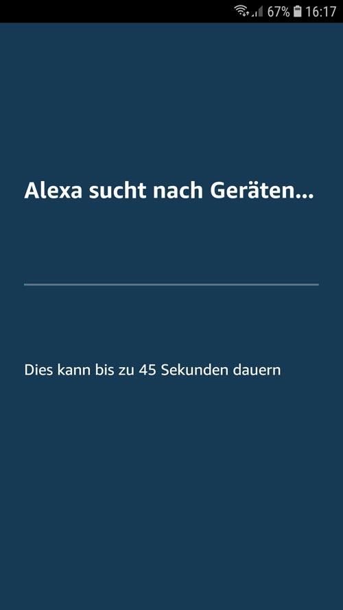 Alexa App - tado° Alexa sucht nach neuen Geräten