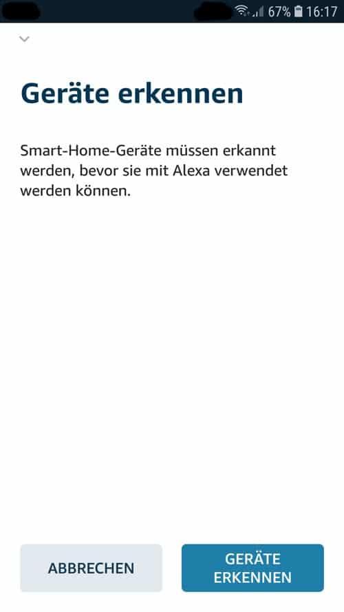 Alexa App - tado° Geräte erkennen