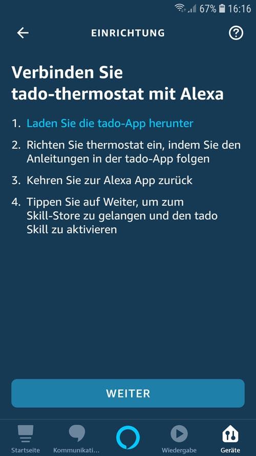 Alexa App - tado° Skill muss gesucht und verbunden werden
