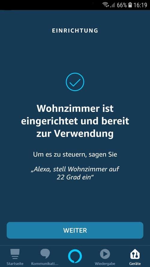 Alexa App - tado° Geräte erfolgreich eingerichtet und bereit zur Verwendung