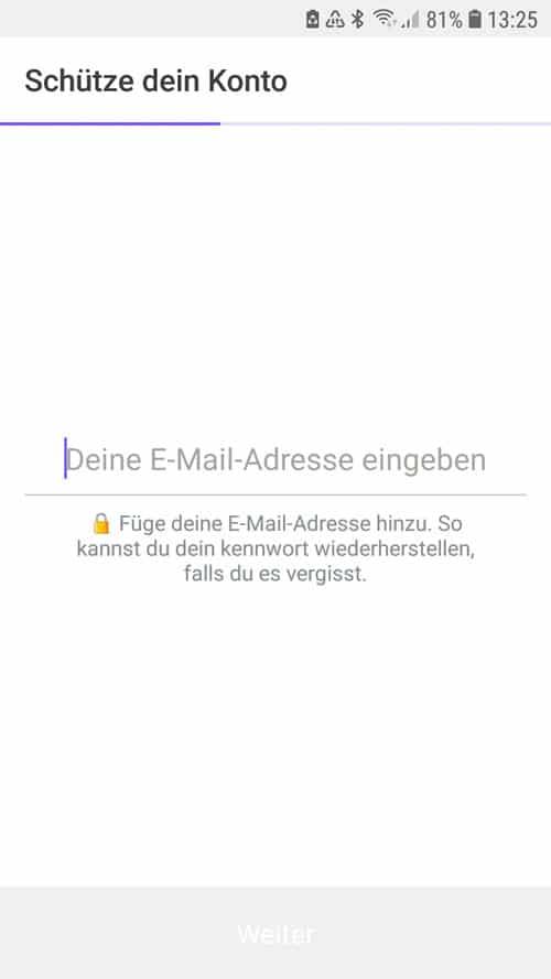 Life360 App - E-Mail Adresse eingeben