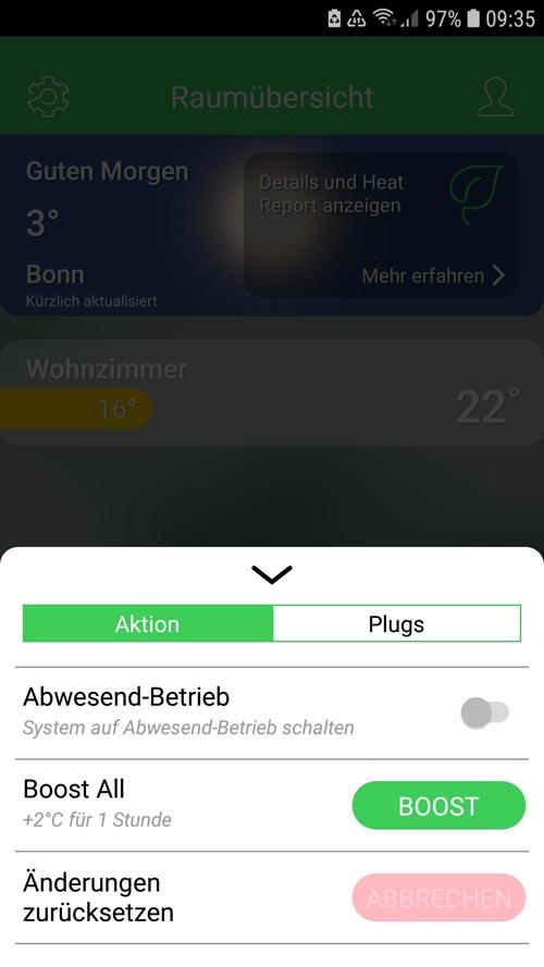 Wiser App - Abwesenheit oder Boost aktivieren