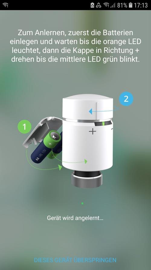 Wiser App - Batterien hinzufügen