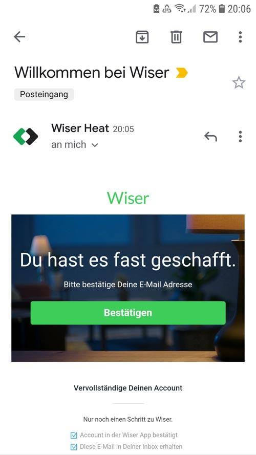 Wiser App - Bestätigungsemail