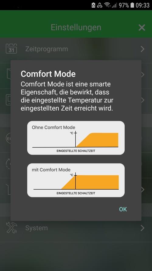 Wiser App - Informationen zum Comfort Mode