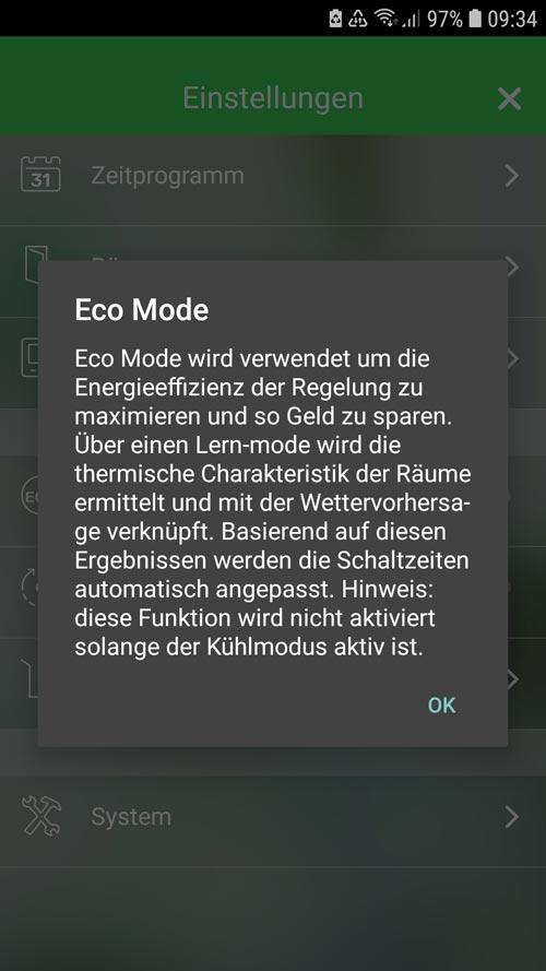 Wiser App - Informationen zum Eco Mode