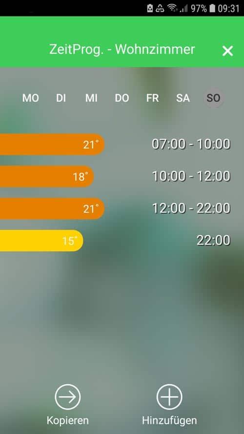 Wiser App - Übersicht Zeitprogramm