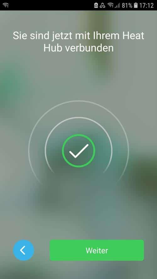 Wiser App - Heat Hub erfolgreich verbunden
