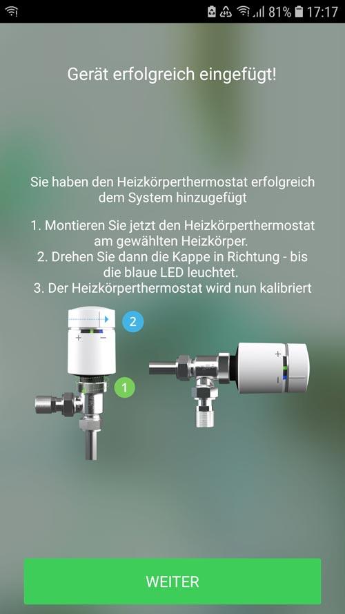 Wiser App - Heizkörperthermostat soll am Ventil montiert werden