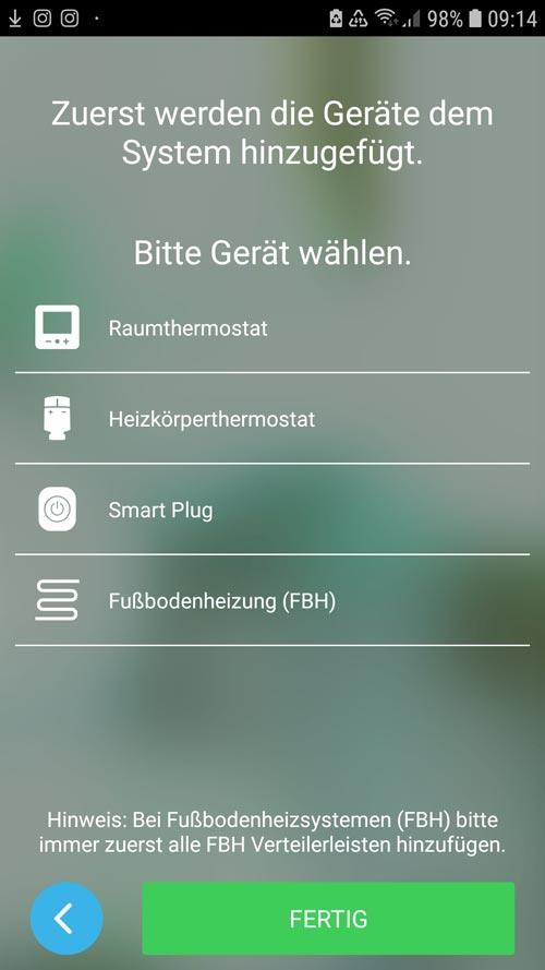 Wiser App - Raumthermostat hinzufügen