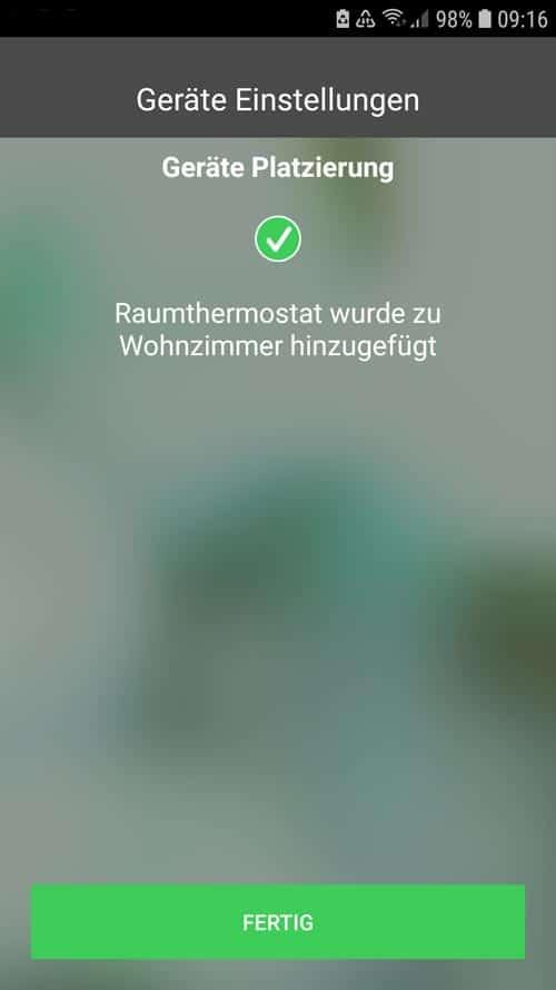 Wiser App - Raumthermostat wurde erfolgreich hinzugefügt