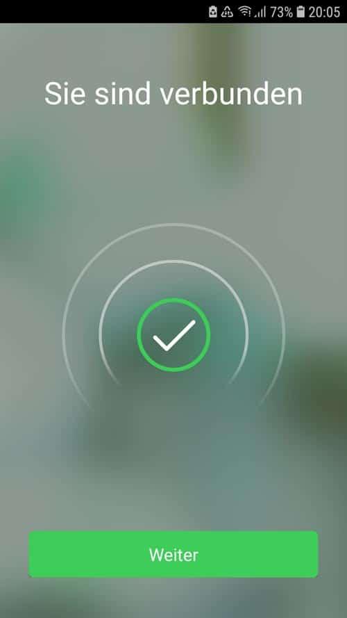 Wiser App - erfolgreich mit W-LAN verbunden