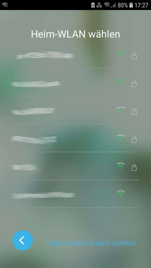 Wiser App - wählt dazu euer Heimnetzwerk aus und gebt das Kennwort ein