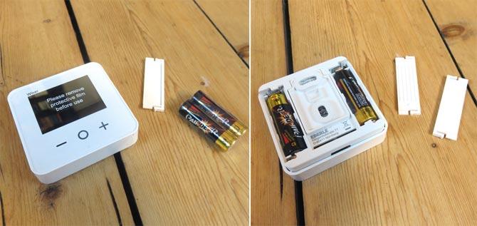 Wiser App - Batterien in Raumthermostat einlegen