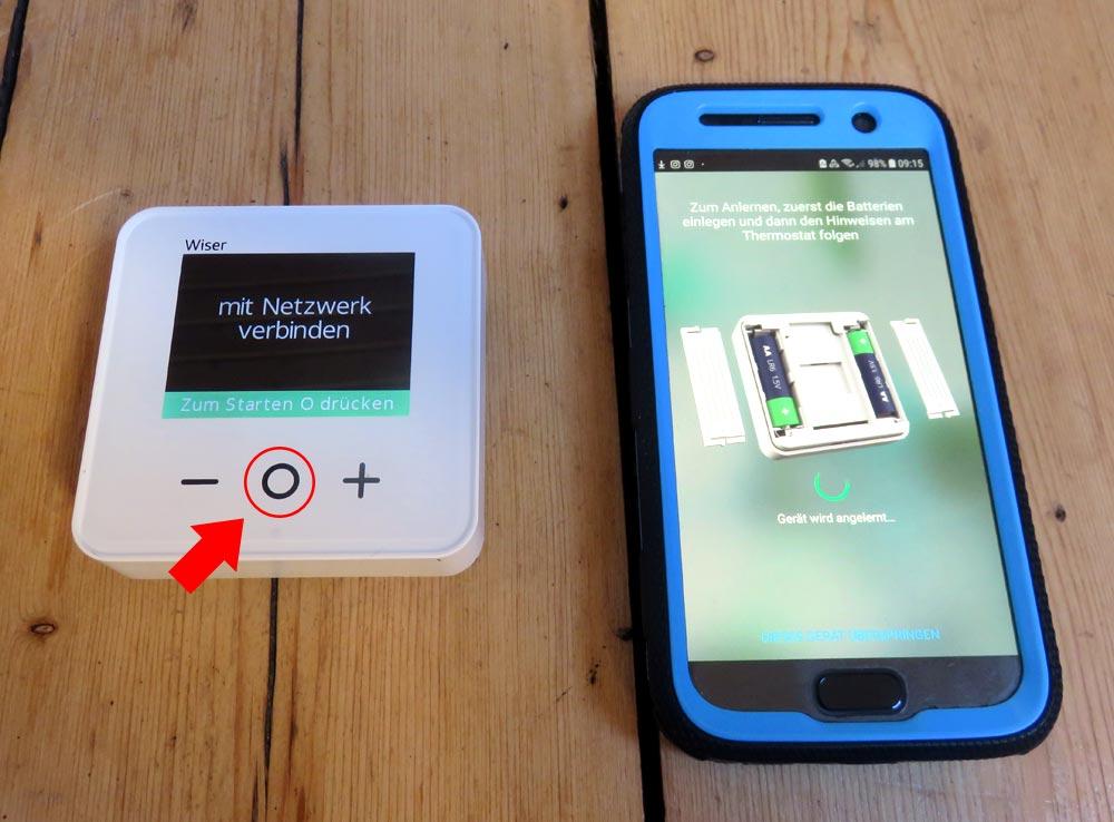 Wiser App - Raumthermostat mit dem Netzwerk verbinden