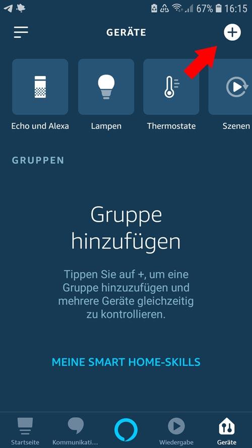 Alexa App - Übersicht Geräte