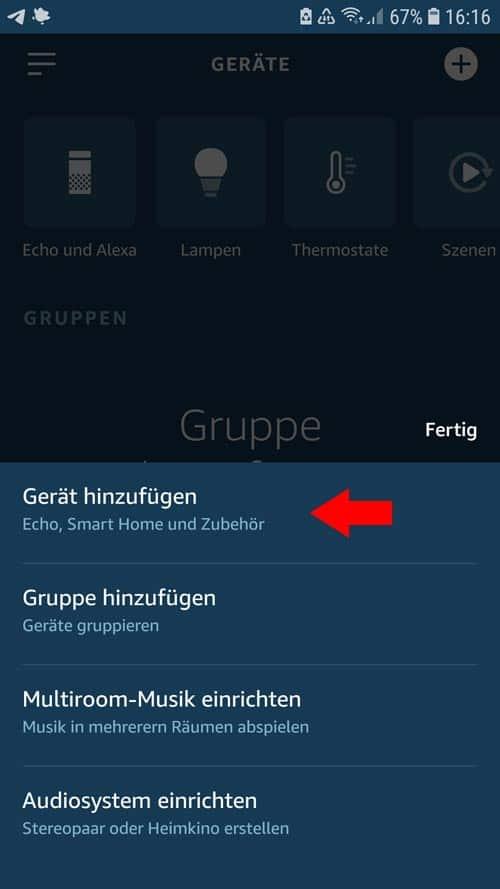 Alexa App - Gerät hinzufügen