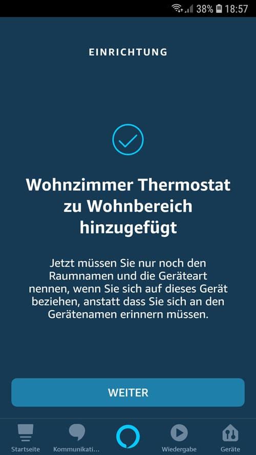 Alexa App - Wiser Gerät erfolgreich der Gruppe Wohnbereich hinzugefügt.