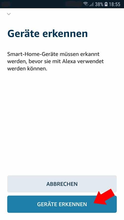Alexa App - Wiser Geräte suchen