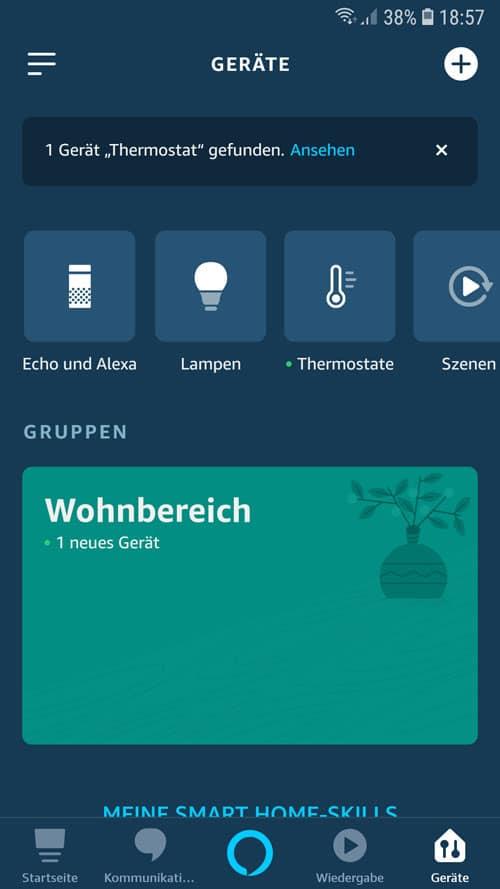 Alexa App - Wiser Gerät in der Geräteübersicht vorhanden