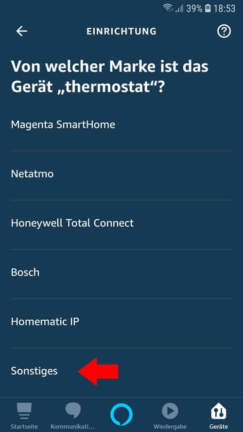 """Alexa App - Als Marke """"Sonstiges"""" auswählen"""