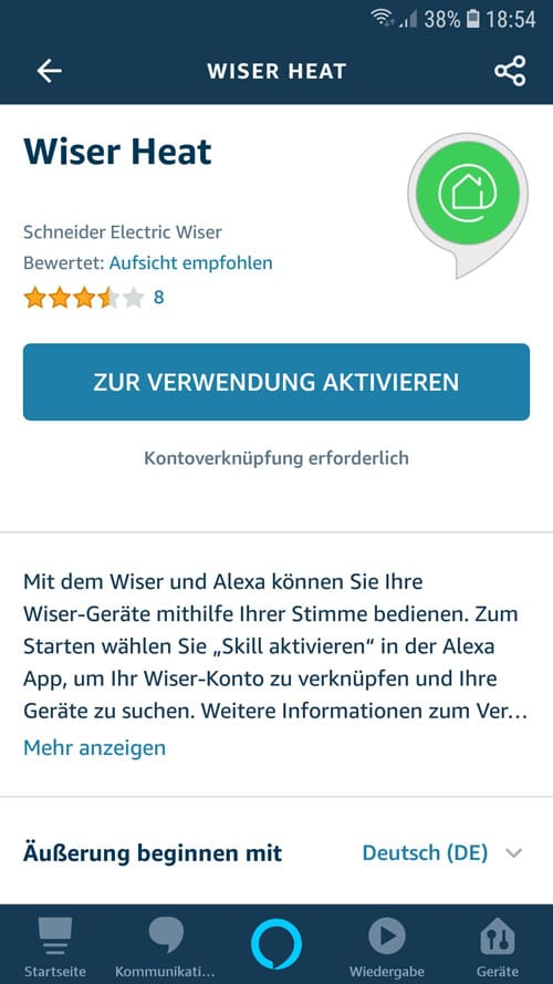 Alexa App - Wiser Heat Skill aktivieren