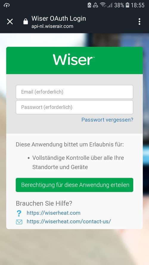 Alexa App - Die Berechtigung für Wiser mit den Wiser Logindaten erteilen
