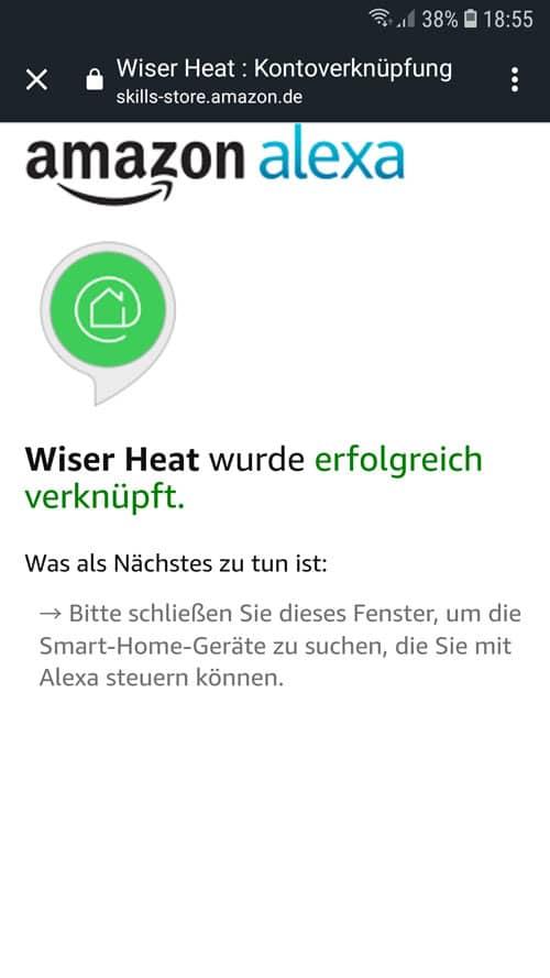 Alexa App - Wiser Heat wurde erfolgreich mit Alexa verknüpft.