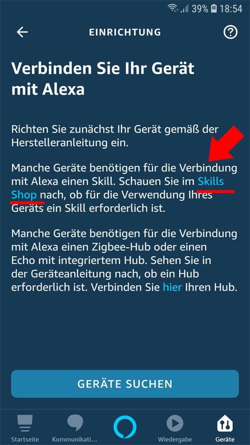 Alexa App - zuerst in den Alexa Skill Shop