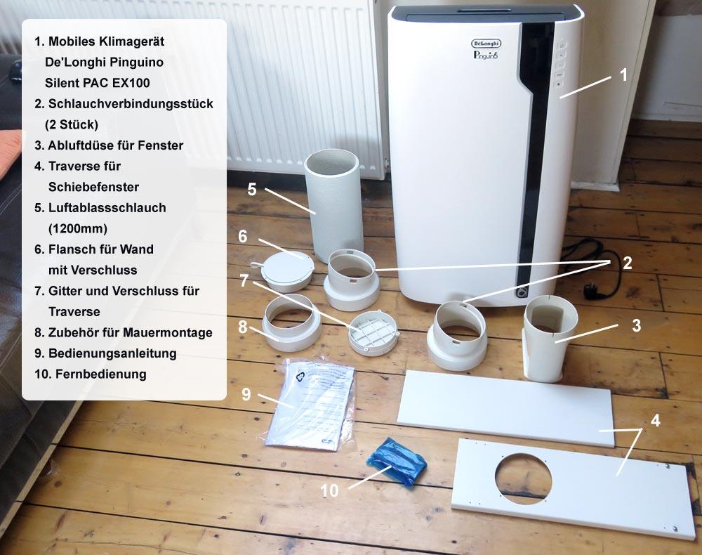 Lieferumfang De'Longhi Silent PAC EX100 mobiles Klimagerät