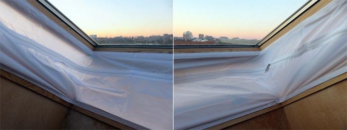 angebrachte Fensterabdichtung für mobile Klimaanlage