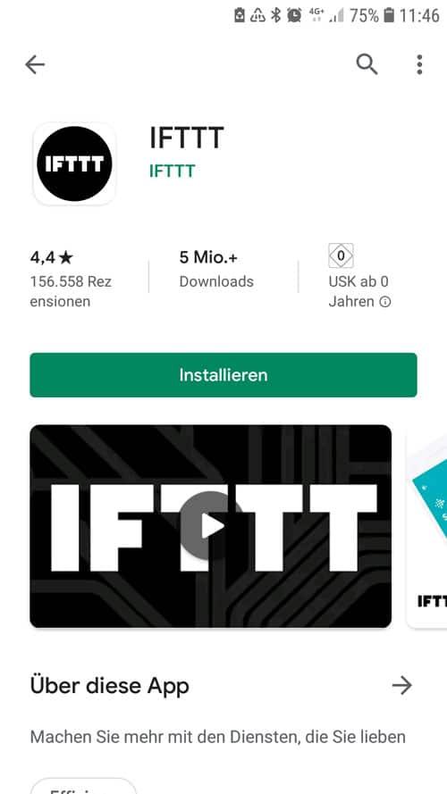 IFTTT App - im Google Playstore - Installieren