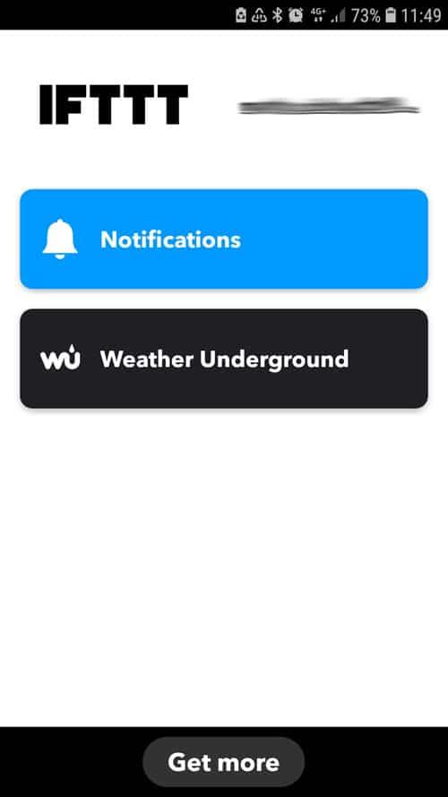 IFTTT App - Startbildschirm