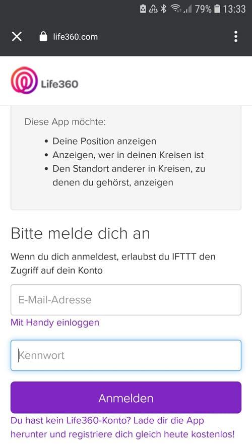 IFTTT App - Login für Life360 zur Verbindung mit IFTTT
