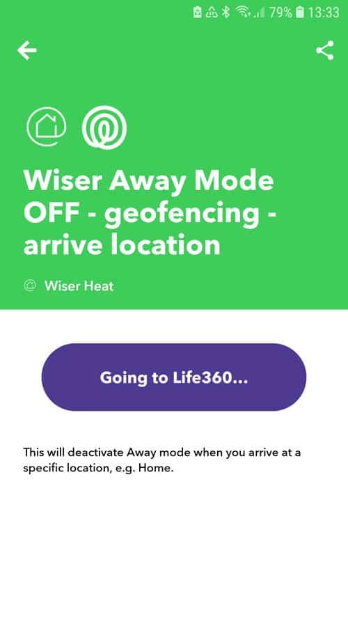 IFTTT App - Wiser Away Mode OFF - Verbindung zu Life360 wird hergestellt