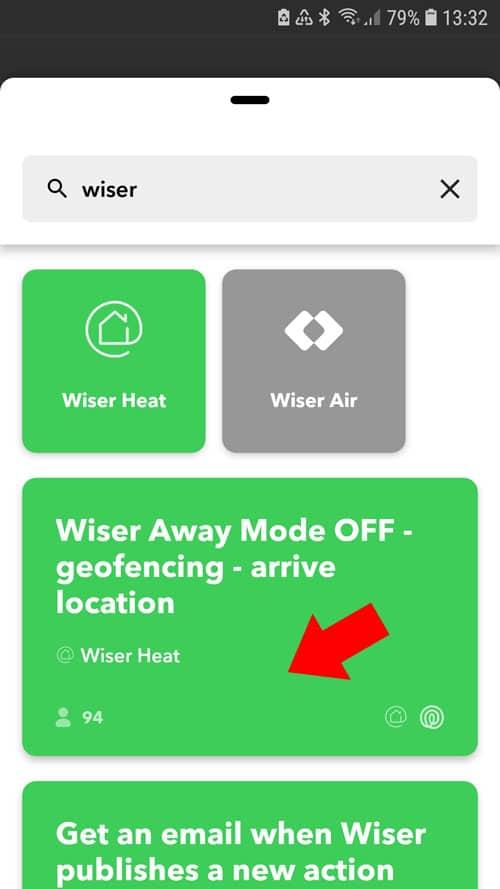 IFTTT App - Wiser Away Mode OFF mit Life360 verbinden
