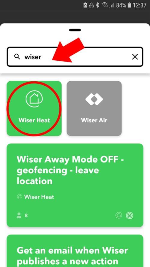 IFTTT App - Wiser Heat App suchen