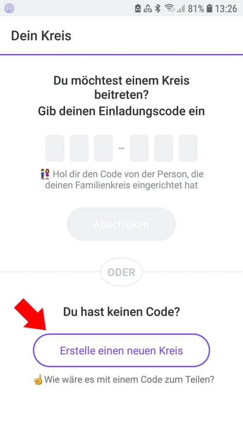 Life360 App - neuen Kreis erstellen