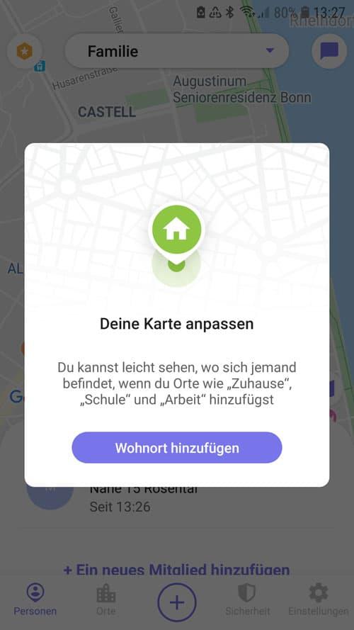 Life360 App - Wohnort hinzufügen