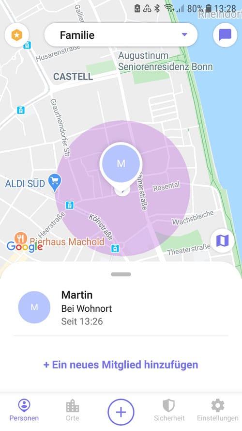 Life360 App - Übersicht Wohnort und Wohnradius