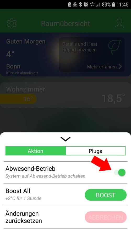 Wiser App - Abwesenheitsmodus wurde durch Geofencing automatisch aktiviert