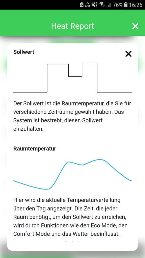 Wiser App - Wiser Heat Report - Erklärung einzelner Funktionen