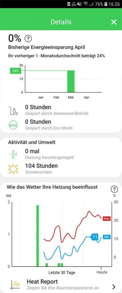 Wiser App - Wiser Heat Report - Übersicht