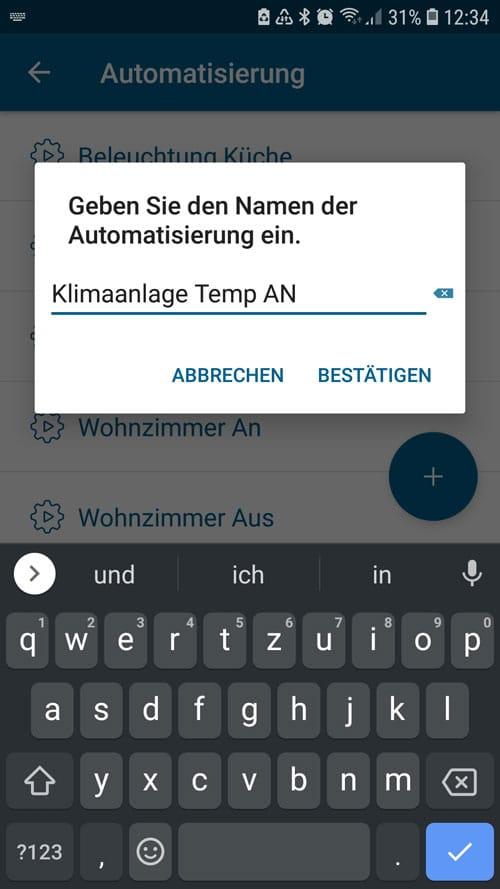 mobile Klimaanlage - Homematic IP - Automatisierung benennen